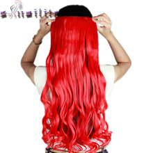 "S-noilite 61CM 24"" RED Curly wavy Long Women One Piece Clip in Hair Extensions Real Synthetic hairpiece for Cosplay Party"