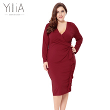 Buy Yilia New Plus Size Dresses 6XL Autumn 2017 Elegant Office Lady V neck Party Dress Women Clothing Long Sleeves Midi Dress BD132 for $23.39 in AliExpress store