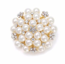 Classic Style Simulated Pearl and Rhinestone Crystal Beautiful Wedding Cake Brooch Wedding Invitation Pins