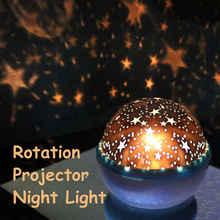 1 Pc ABS Rotation Star Sky Luminous Light Lamp Night Projector with USB Cable Romantic Decoration Kids Toy Random Color(China)