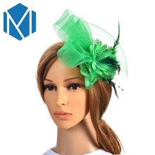 M MISM Women Girls Chic Fascinator Hat Cocktail Wedding Party Church Headwear Fancy Feather Hair Accessories Hairpins Hairbands(China)
