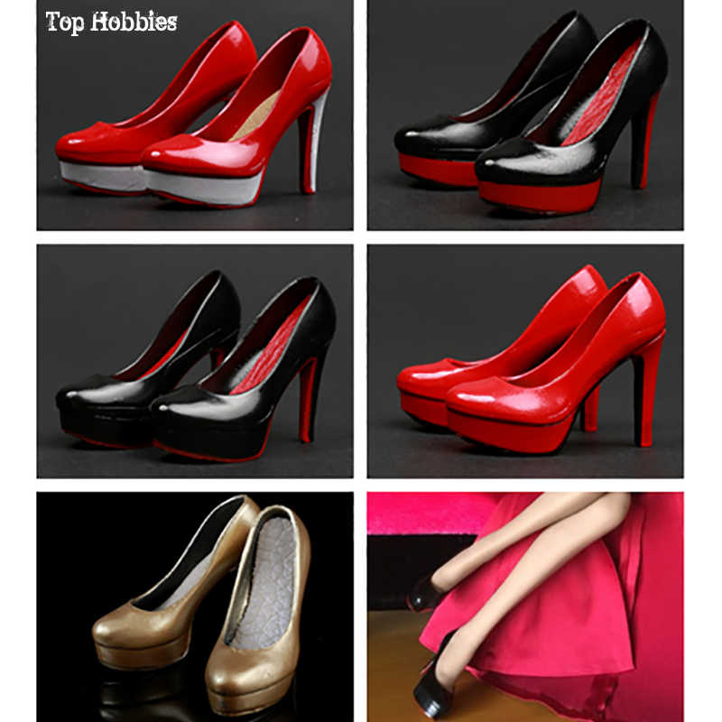 1:6 Female Soft White High Heels Model Suit Shoes For 12/'/' Phicen Action Figure
