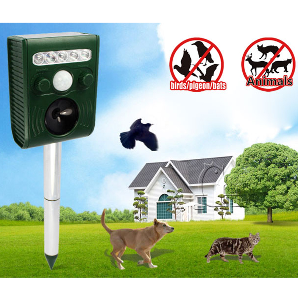 Solar Power Animal Pest Control Mouse Repeller Ultrasonic Scarer Frighten Cats Dogs Foxes Repellent for Garden Outdoor Trap(China (Mainland))