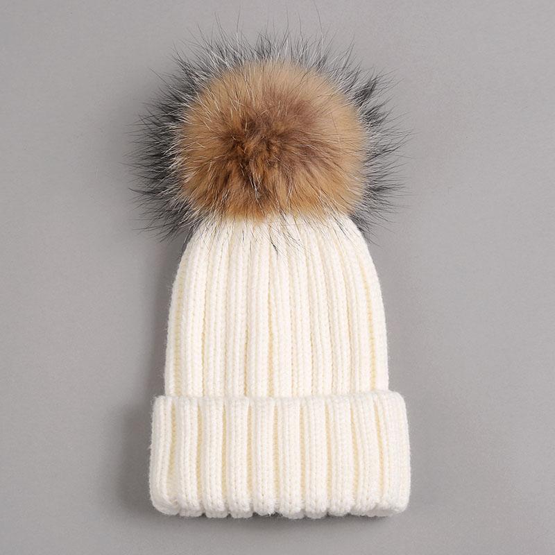 kid hat with fur pompom white 1