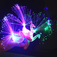 50pcs/lot led peacock light finger laser lamps for wedding party decorations as guest Kid 's birthday toys gifts(China)