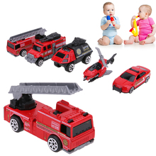 5Pcs 1:64 Scale Diecast Car Model Alloy Fire Fighting Truck Models Kids Children Pull Back Car Playing Toy Set