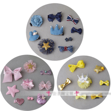 6pcs/7pcs/10pcs in 1 set Mix Style Hair Bows with Full Covered Clips Hair Clips mini Hair Pins Crown Wispy Clippy(China)