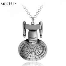 MQCHUN Movie Star Trek Star War Metal Alloy Pendant Necklace Jewelry Enterprise Millennium Falcon Spacecraft Robot R2D2 Necklace(China)