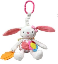 New Arrival Baby Toy Soft Rabbit Plush Doll Baby Rattle Ring Bell Crib Bed Hanging Animal Toy Teether Multifunction Kids Toy