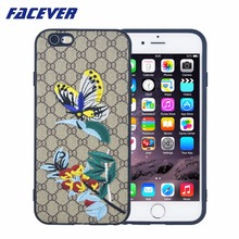 Facever Bird Bee Butterfly Flower Embroidery Case For iPhone 6 6S Plus 5.5 Leather + Black Silicone Blind for Love Phone Case(China)