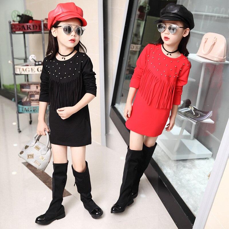 Kids girls spring / autumn tassel sleeve dress 2017 new baby girls clothing fashion beaded dress 4/5/6/7/8/9/10/11/12/13/14<br><br>Aliexpress