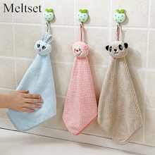 Cartoon Animal  Hanging Hand Towel Kitchen Cleaning Cloth Bathroom Wipe Hanging Bathing Towel for Kids