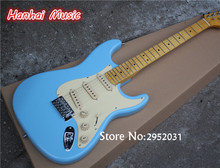 Hot Sale Custom Electric Guitar,Blue Color,Vinatge Maple Fretboard,Cream White Pickguard,Knobs and can be Customized