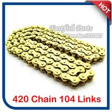 Gold 420 Chain 104 Link For CRF 50 70 SSR Pit Dirt Bike ATV 110cc 125cc Taotao Motorcycle Motocross