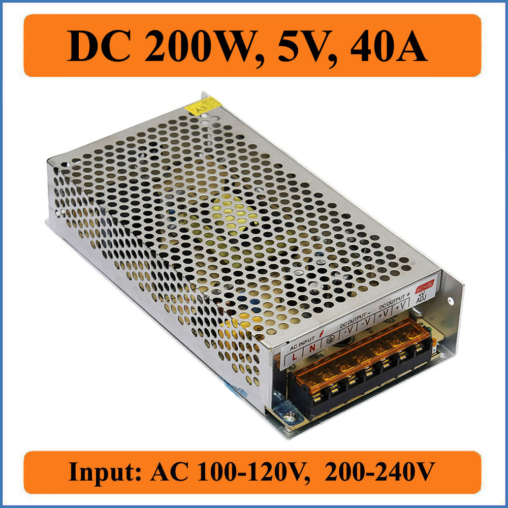 200W 5V 40A Switching Power Supply Transformer led DC driver for LED strip display block power Dual Output DC 5V for CCTV camera<br><br>Aliexpress