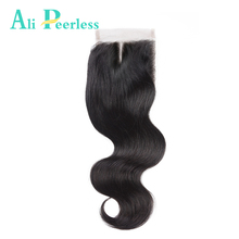 Ali Peerless Hair Middle Part Lace Closure Virgin Hair Body Wave Swiss Lace Human Hair Natural Color 10-20 Inch Free Shipping(China)