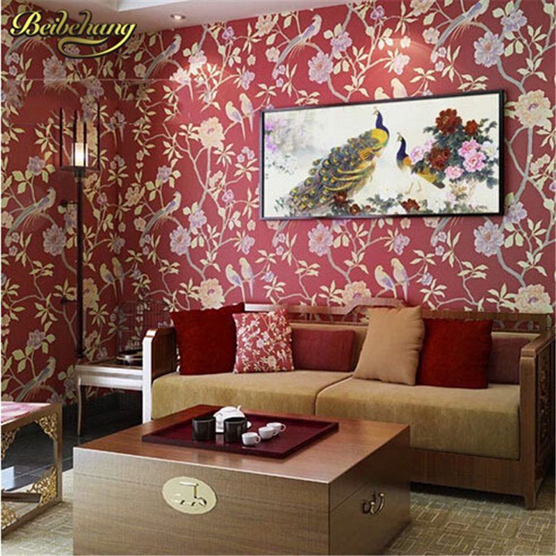 beibehang papel de parede. Birds trees branch Embossed Textured non-woven wallpaper flowery floral motif background home decor <br>