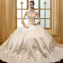 2016 new fashion vintage luxury stand collar princess  wedding dress lace  wedding gown