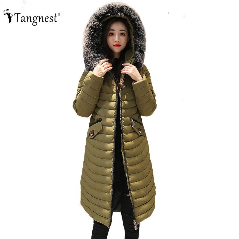 TANGNEST Women Long Hooded Coat 2017 Winter Casual European Slim Patchwork Coats Knee-Length Solid Color Chaqueta Mujer WWM1604Îäåæäà è àêñåññóàðû<br><br>