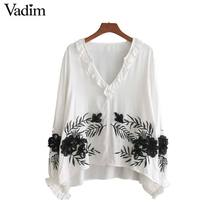 Vadim sweet ruffled neck floral embroidery shirts long sleeve white chic blouse elegant ladies casual tops blusas LT2404(China)