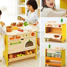 Wooden Stove Kitchen Toy Kids Children Cooking Pretend Play Furniture Set Top Quality