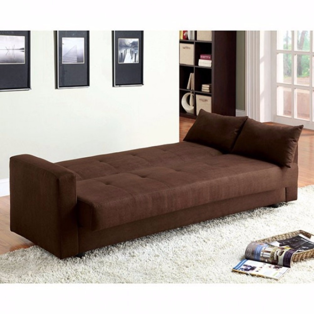 Microfiber Fabric Simplistic Sofa Futon, Brown (2)