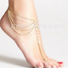 Buy New Beach Barefoot Sandal Jewelry Elegant Bride Sexy Women's Fashion Charm Layer Chain Link Crystal Beads Foot Anklet Bracelet for $1.55 in AliExpress store