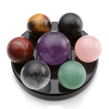 Seven Star Group Natural Amethyst Chakra Crystal Sphere Ball with Black Obsidian Stand With Box
