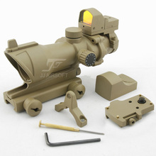 JJ Airsoft ACOG Style 4x32 Scope Illumination with Docter Mini Red Dot (Tan) FREE SHIPPING