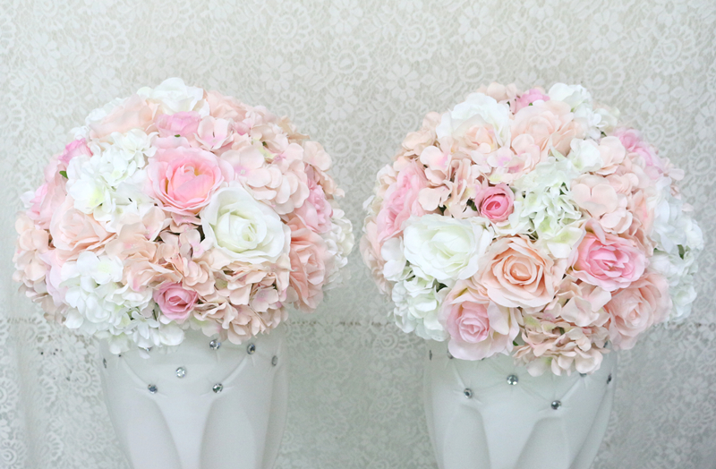 JAROWN Artificial Wedding Flower Ball Simulation Rose Hydrangea Flowers Hemisphere Roman Column Decor Home Party Decor Flores (9)