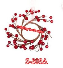 Wholesale--48X 16CM Red Berry Candle Ring,Decorative Candle Ring, Holiday Decoration+ (Free Shipping by Express)(China)