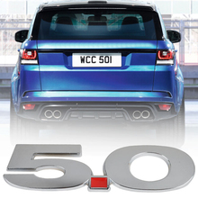 MAYITR Metal Number 5.0 Badge Emblem Car Body Side 3D Sticker Decal for Ford Mustang Car Styling Decoration Silver