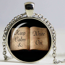 Keep calm and write on inspirational quote teacher gift book lover jewelry Glass Cabochon Necklace(China)