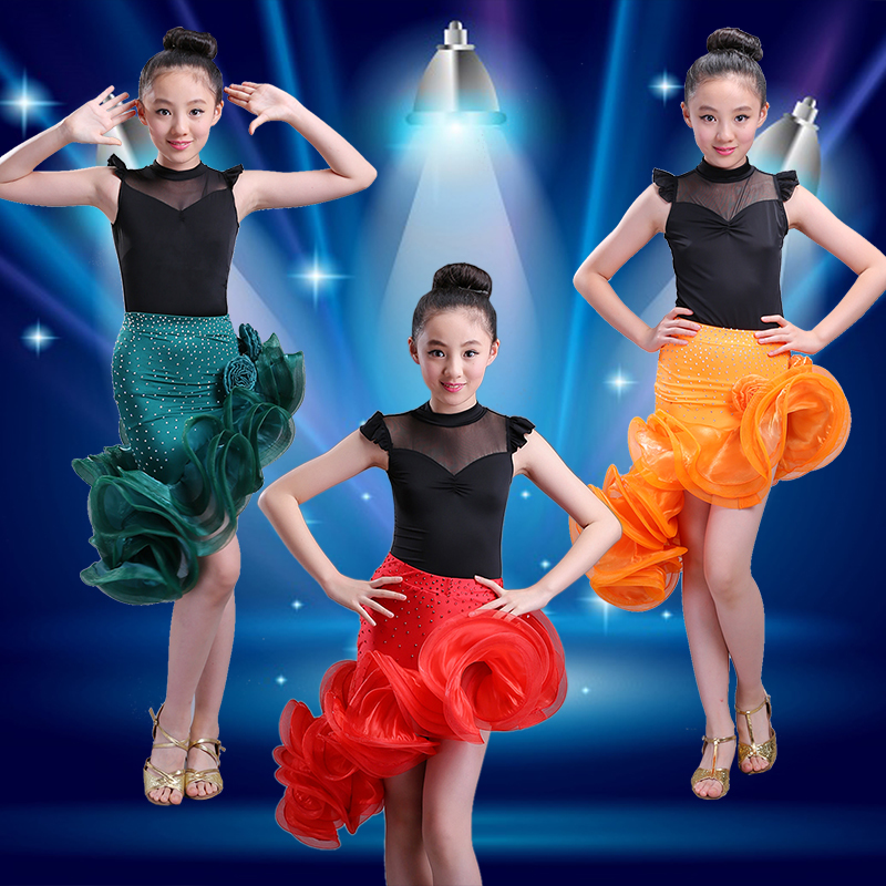 Kids lace children professional latin dance dress for girls flamengo skirt Ballroom Dance Wear Salsa Tango Rumba Samba Costume