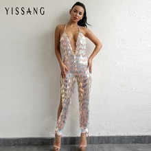 Buy Yissang 2018 Backless Sexy Sequin Jumpsuit Women Halter Sleeveless Rompers Women Long Jumpsuit Sequined Club Party Overalls