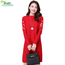 KULAZOPPER Women sweater winter knitted pullover coat casual long solid slim plus size for female clothes Mesh sweater QW479