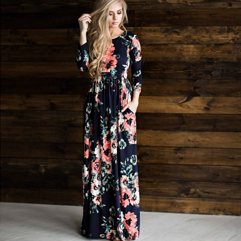 Hot Sale Print Elegent Ladies Fashion Dresses Sexy Robe Female Party Women Brand Dress Cute Plus Size Evening Long Style Dresses