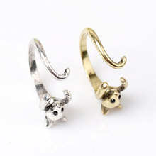 Wholesale Antique Silver Bronze Mouse Ring Womens Girls Retro Burnished Rat Mice Animal Ring Jewelry Wrap Ring Gift