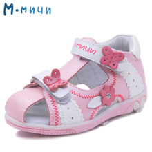 Mmnun Genuine Leather Girls Sandals Flower Summer Kids Shoes Toddler Sandals Closed Toe Sandals Kids Sandals for Little Girls(China)