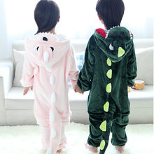 Cute Autumn Winter Cartoon Baby Romper Full Hooded Kids Home Clothings Jumpsuit with The Dinosaur Logo For Boys Girls 110-140cm(China)
