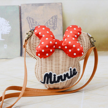 New fashion women bamboo bag mickey mouse crossbody messenger bag ladies small shoulder bag mochila cartoon shape kids bag