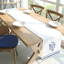 DUNXDECO 1PC  Meditterean Marin Decor Royal Blue Embroidery Store Table Runner Party Kitchen Home Textile Table Cover Decoration