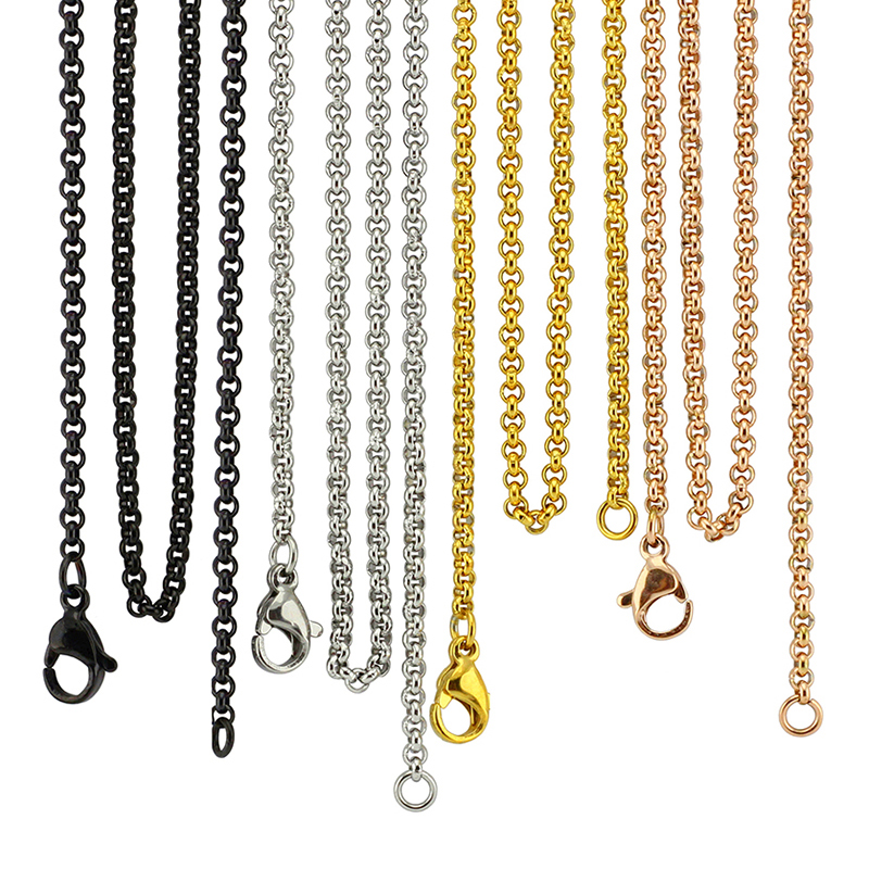 3//4//5mm Stainless steel Square Box Rolo chain Necklace Men jewelry 18/'/'-32/'/'