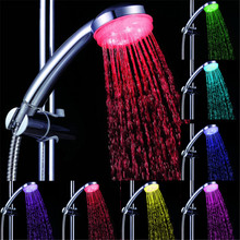 Hot New temperature Control 3 Colors Romantic LED Light Bathroom Shower Head Stock Offer(China)