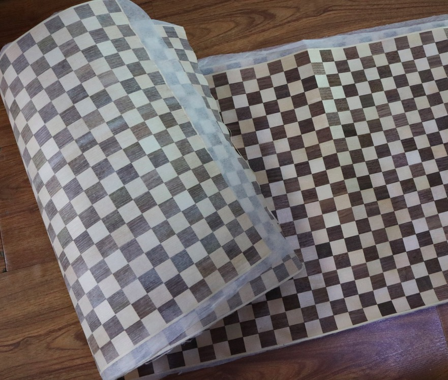 L:2.5Meters  Width:40cm Thickness:0.25mm  checkerboard parquet wood veneer furniture decorative veneer <br>