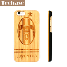 Techase Bamboo+PC Phone Cases For iPhone 5 6 6plus 6s 6splus 7 7plus Case Wooden Football Club Cover For Juventus For Arsenal(China)