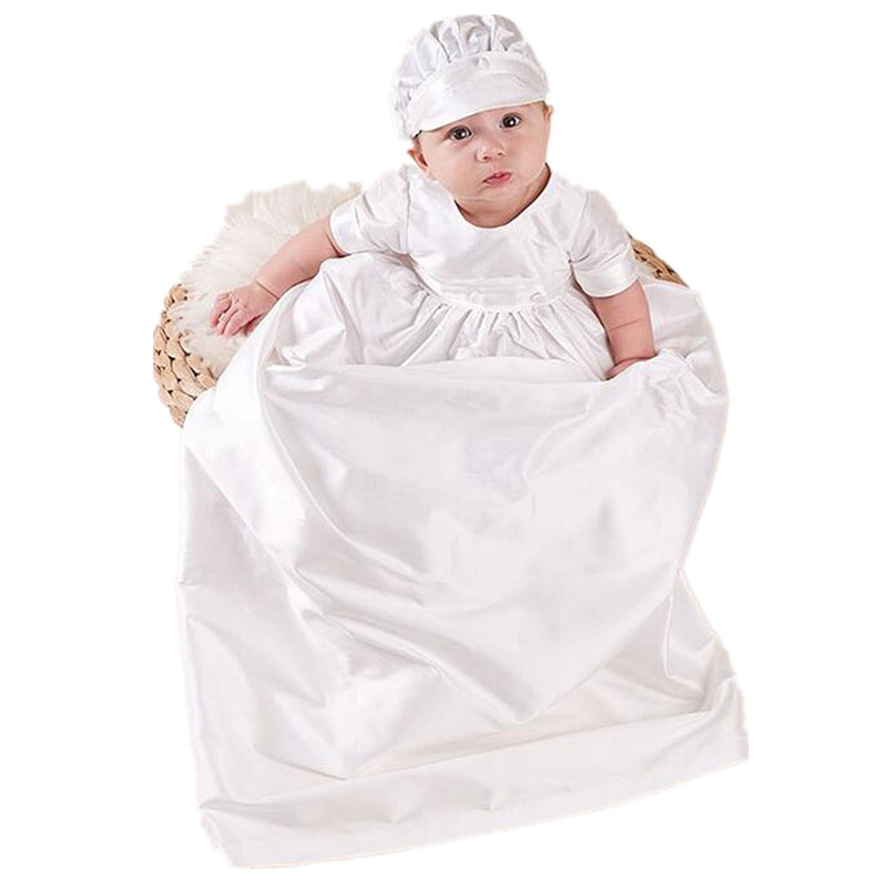 BBWOWLIN Baby Boy Baptism Christening Gowns with Hat White Overlength Clothes 9015<br>