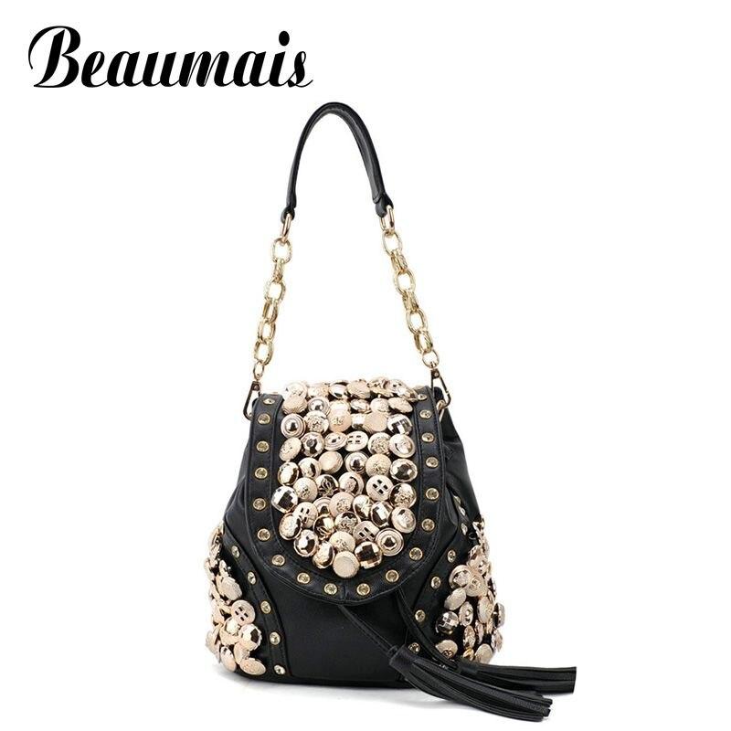 Beaumais 2017 cute rivet tassel women leather handbags multi-function women bags women shoulder bags 2 colors lady love JK163<br><br>Aliexpress