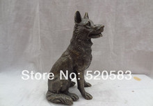 "9"" China Bronze Animals Sculpture Set Chinese Zodiac Wealth Wolf Dog Statue fast"