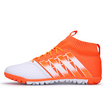 2017 New Men's High Ankle Turf Sole Indoor Cleats Football Boots Shoes Soccer Cleats(China)
